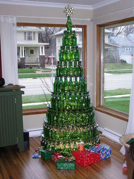 Christmas tree made of beer - beermastree